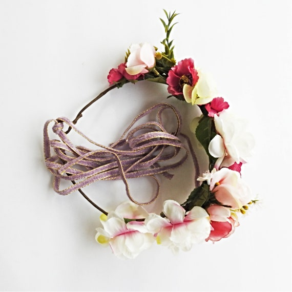 Boho-chic bridal flower crown