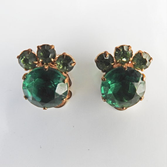 GREEN VINTAGE CLIP on earrings with rhinestone