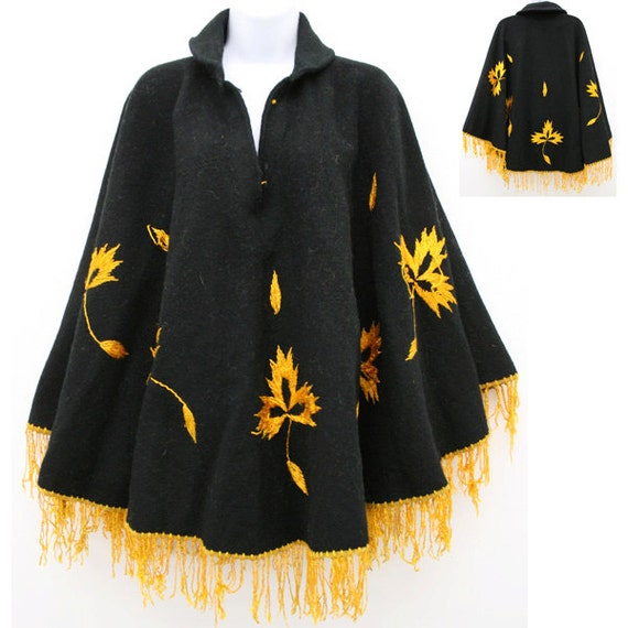 Vintage fringe poncho cover up