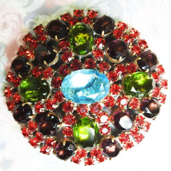 Large glass brooch