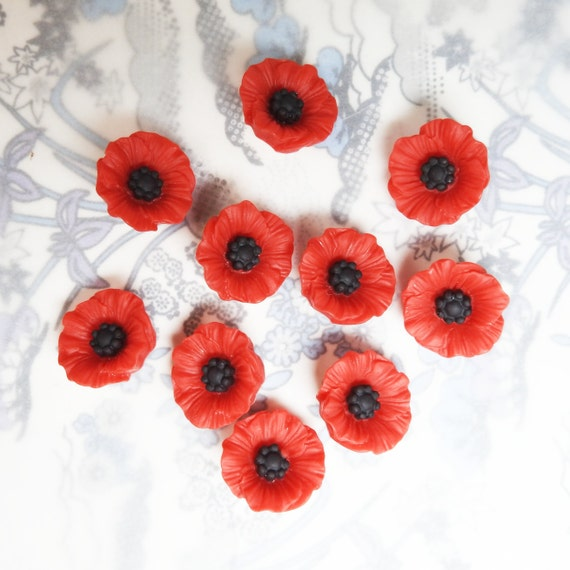 10 red poppy flower buttons with shank for sewing on remembrance day ornament, Armistice Day costume, or a princess dress, made from resin