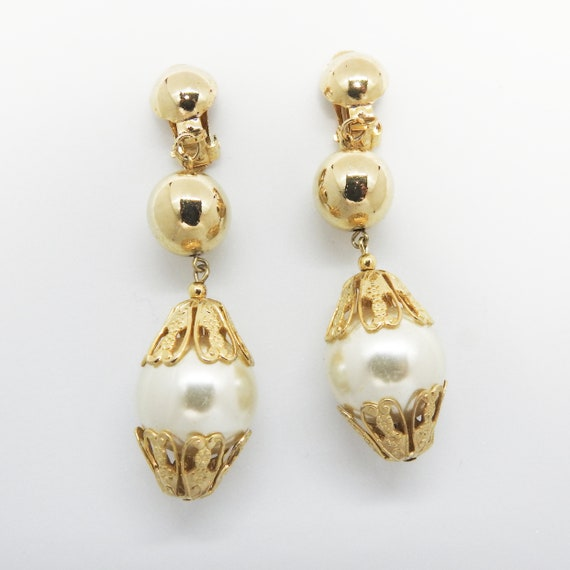 Clip on pearl dangle earrings