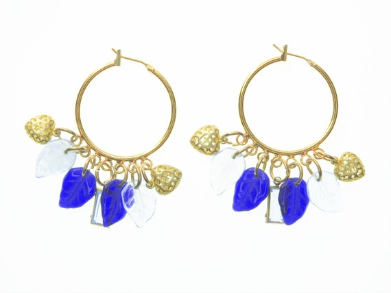 Blue large hoop earrings with charm