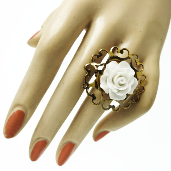 Filigree ring flower small cute gift rings for women adjustable jewelry her womens handmade jewellery dainty white gifts