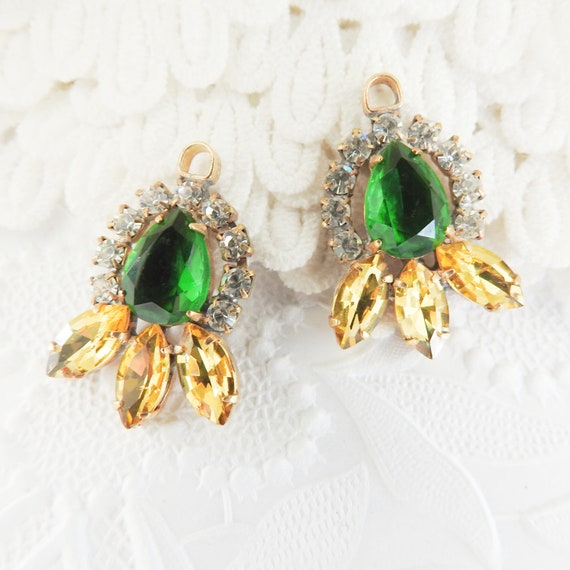 Handmade green earrings charms