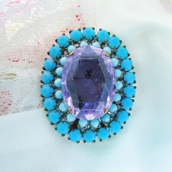 Fancy glass blue button