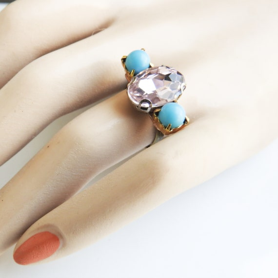 Handmade pink and blue fashion ring size 8