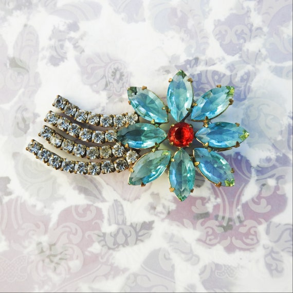 large blue rhinestone brooch pin