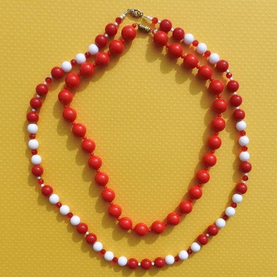 White and red beaded necklace