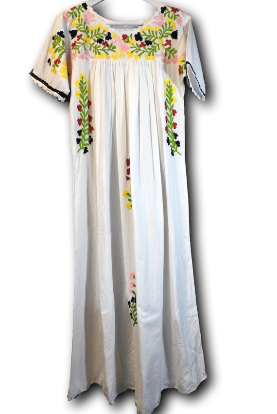 f47ef92b1a60d Mexican style embroidered dress white cotton plus size dresses for women  maxi long boho with embroidery floor length hipster hippie