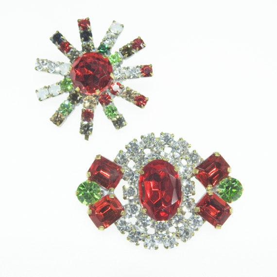 Large green and red glass buttons
