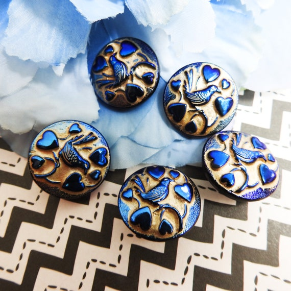 Navy blue buttons with birds, jewelry making gift with hearts,, gifts for bird lovers, Dark Sewing Domed Czech glass for sale with shanks
