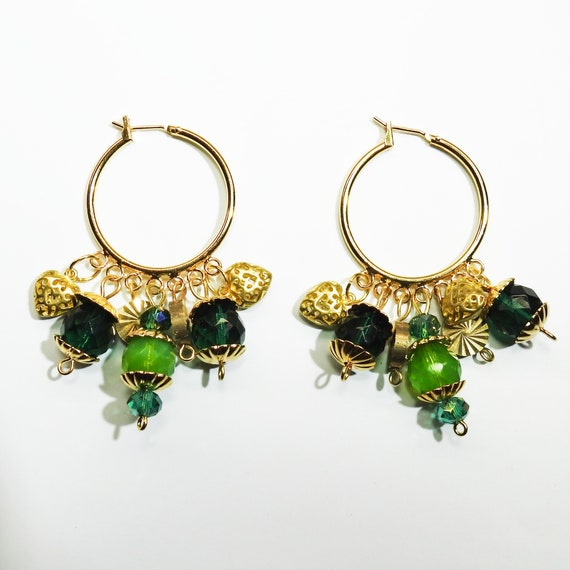 Kelly green hoop EARRINGS with charm
