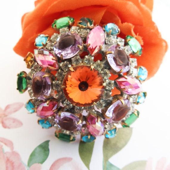 Purple crystal brooch