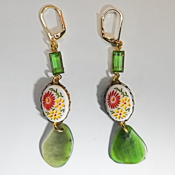 Olive green drop earring
