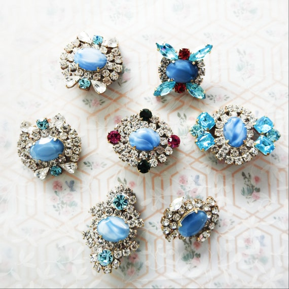 Blue glass buttons jeweled