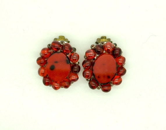 Clip on earrings vintage for women red earrings for prom for non pierced ears clip-on earrings earings vintage  clipon  ruby  clip ons