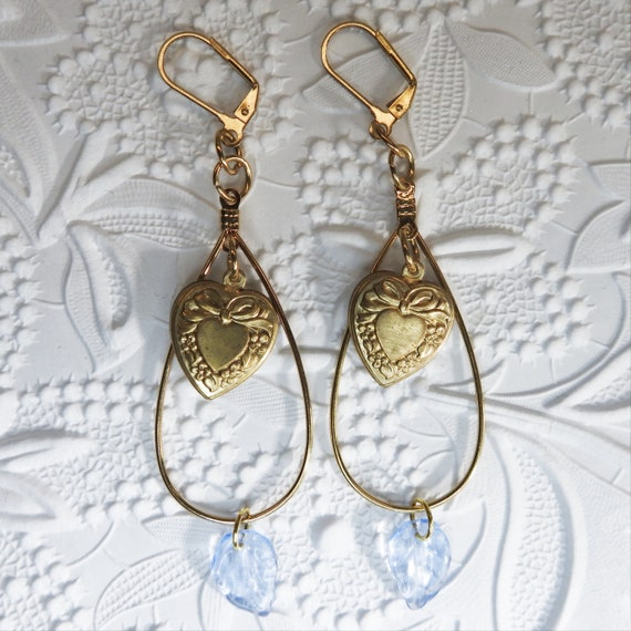 Blue heart Dangle Earrings