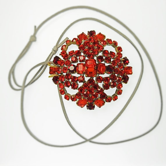 Red extra large pendant necklace