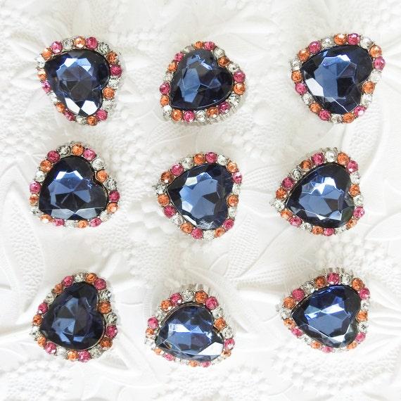 Rhinestone heart buttons