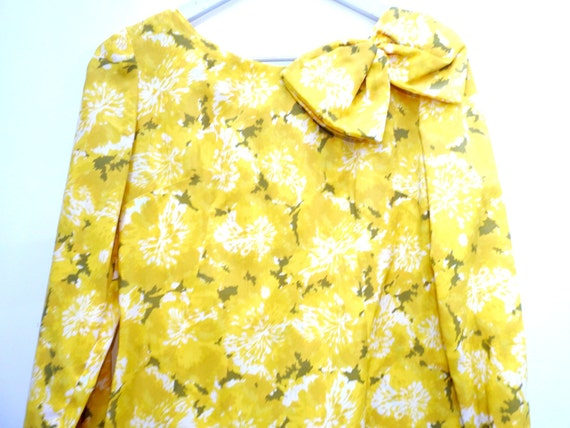 BIG BOW DRESS sunday dress garden party yellow floral  bow neck sixties summer formal   prom with sleeves large  wedding guest  elegant