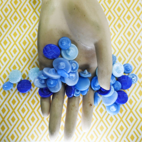 vintage glass blue sewing buttons
