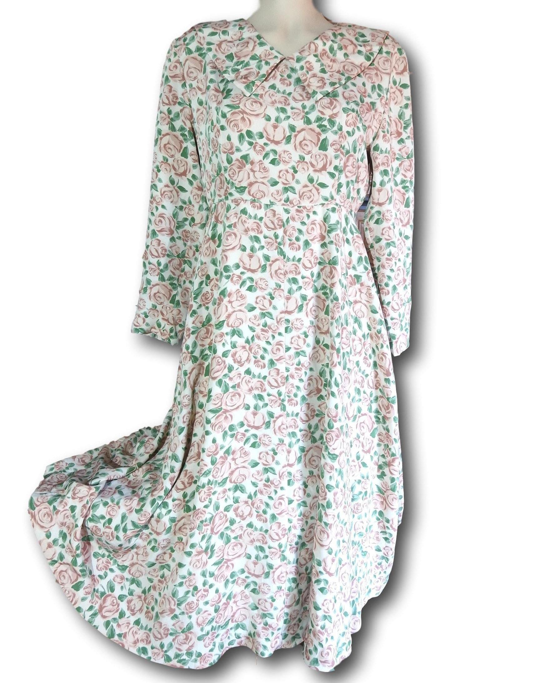 79dcf67e21d2 Rustic floral dress Vintage 50s women s below the knee