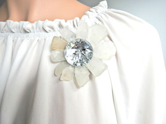 White brooch for women, a wonderful jewelry gift for her.
