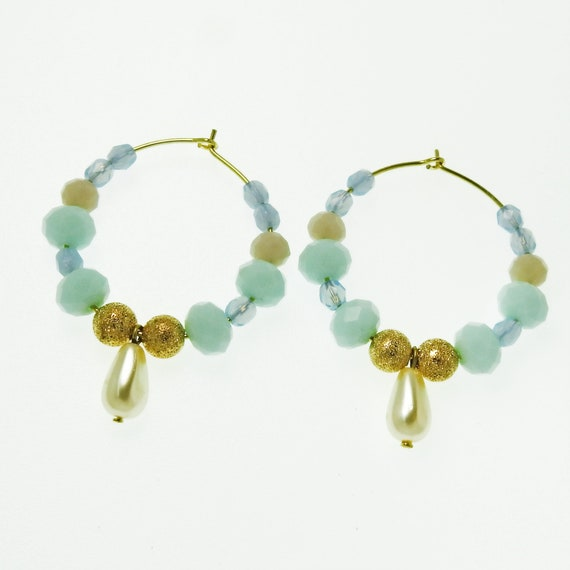 Pastel blue beaded hoop earrings