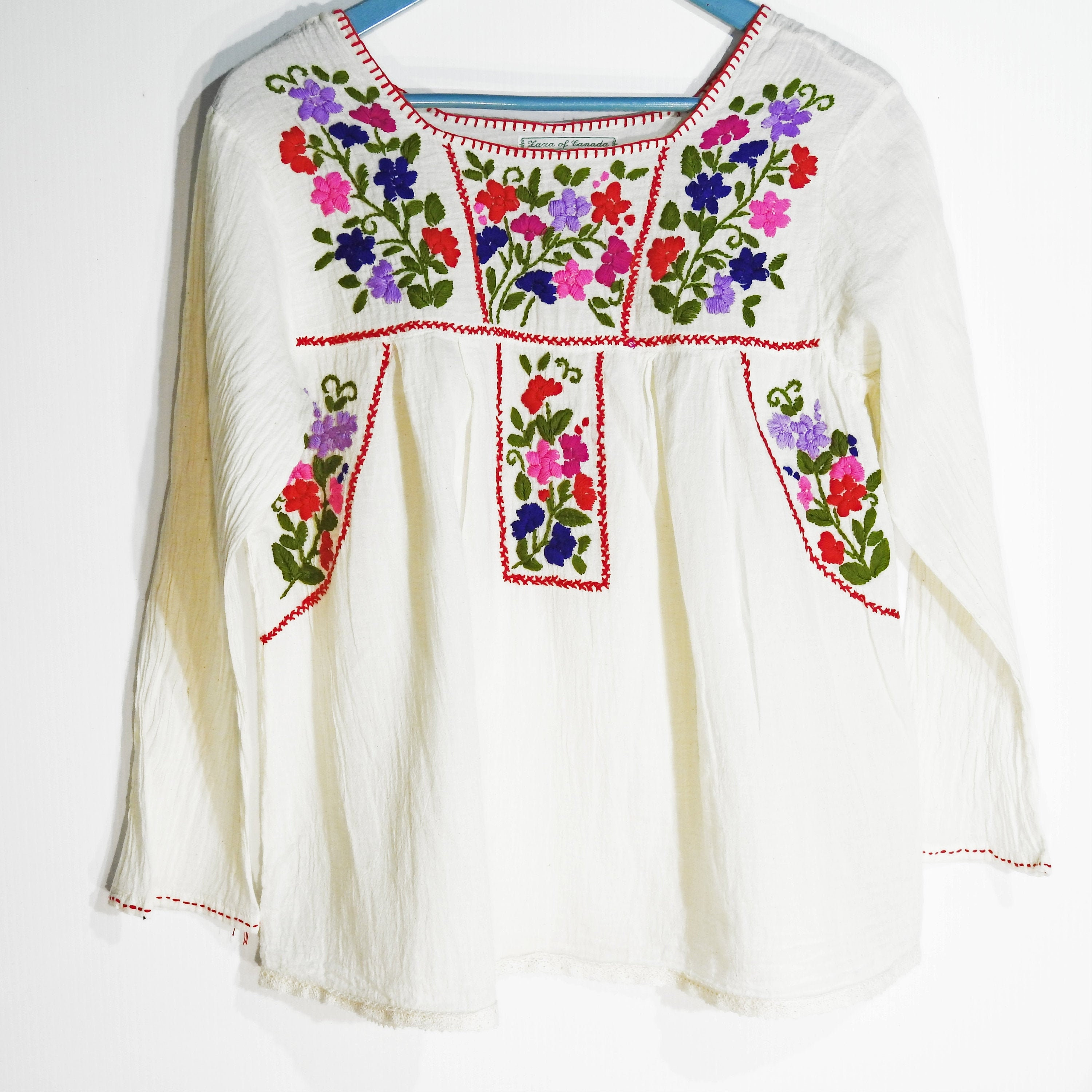 Hand Embroidered Mexican Blouse Authentic Mexican Top Dainty Floral Blouse Mexican Flower Top. Simple Floral Detail Silk Thread Blouse