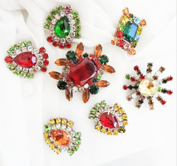Colorful big rhinestone buttons