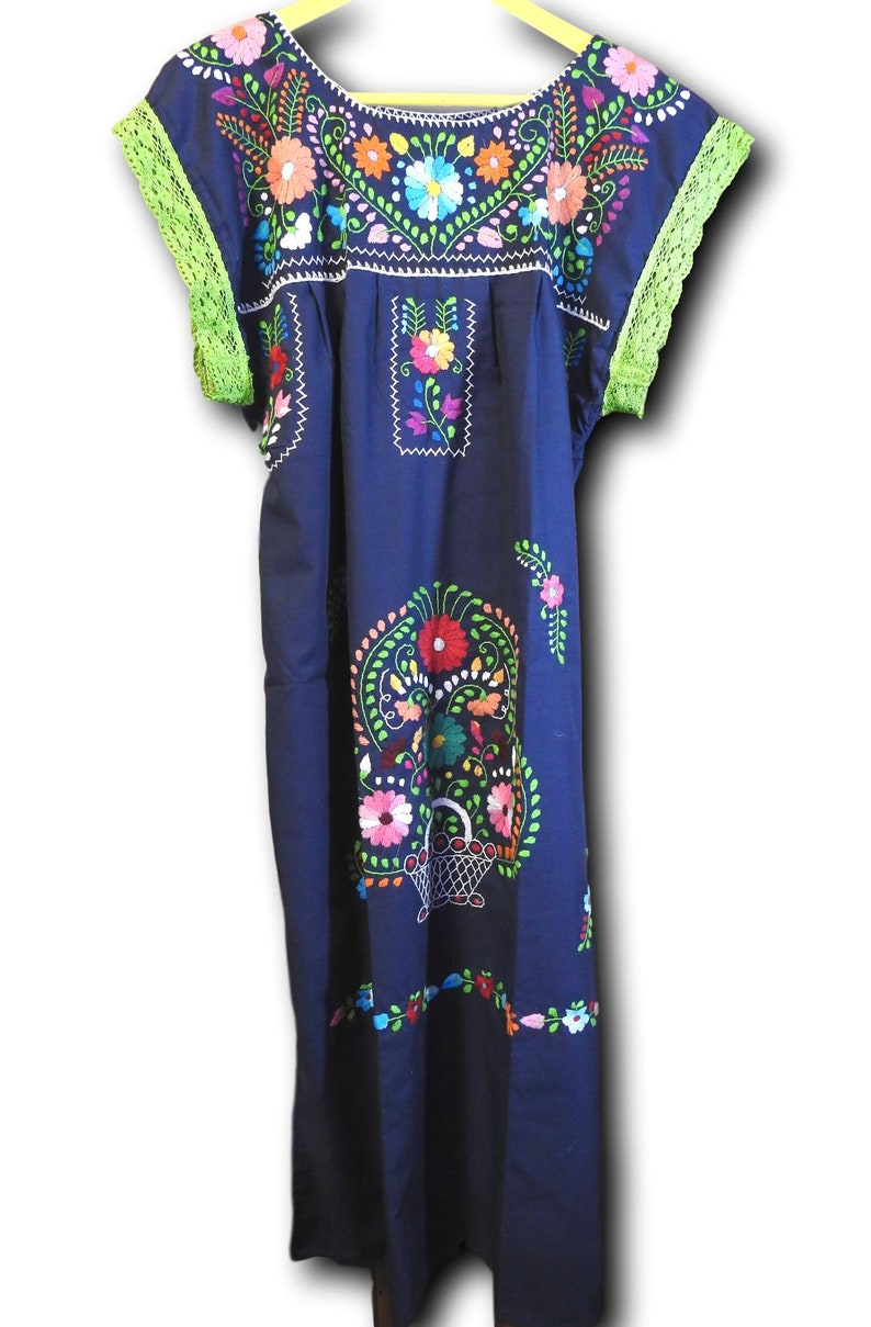 bb63cc17e6166 Fiesta Mexican dress XL mexican ladies wear embroidered clothing plus size  dresses bright floral womens puebla boho-chic attire blue summer