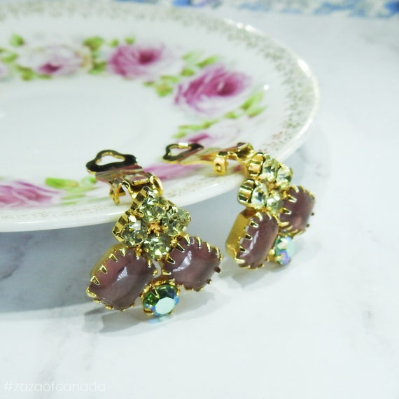 Pink purple clip on earrings with aurora borealis