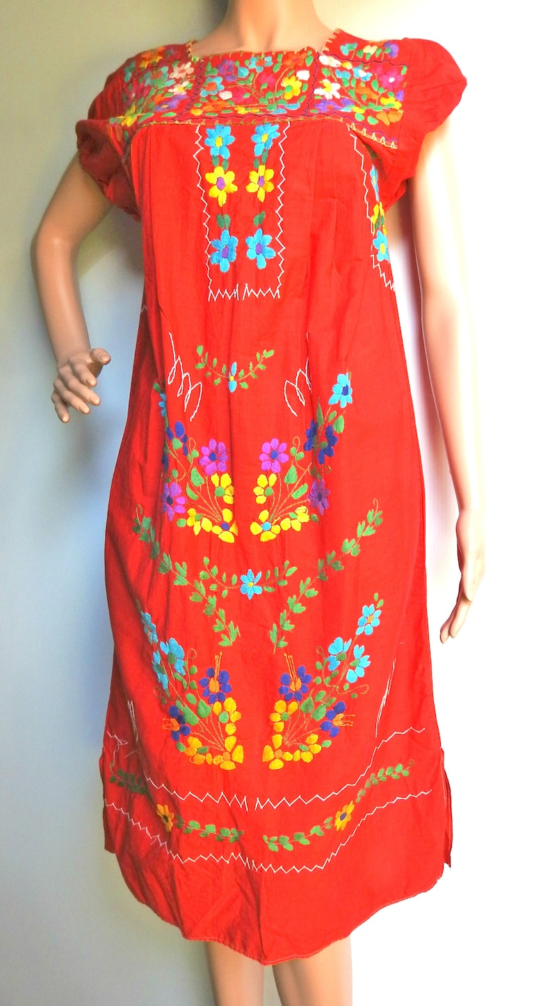 a038c9a900ec5 Vintage Mexican embroidered dress, 70s floral clothing, 1970s dress,  festival dress, party fiesta dress, red boho chic clothes midi cotton