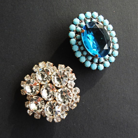 Large vintage rhinestone buttons for sale