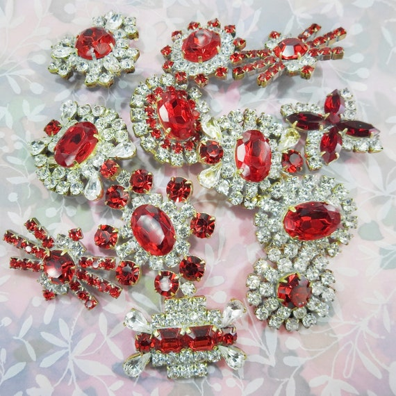 Costume jewelry red buttons lot