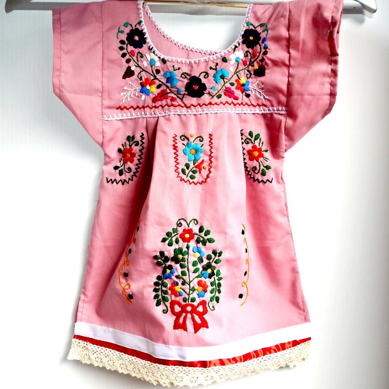 Dusty Pink Dress For Mexican Baby Mexican Dress Girl Etsy