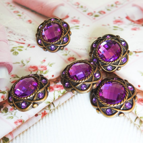 Dark purple buttons,  5 decorative buttons for sewing , chunky large rhinestone buttons for clothing, round shank buttons  30 mm