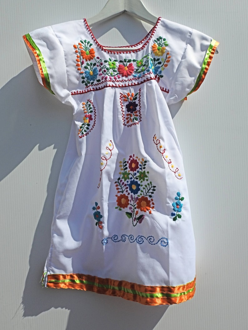 0be1ef1db6d Little girl mexican dresses white mexican dress Etsy baby
