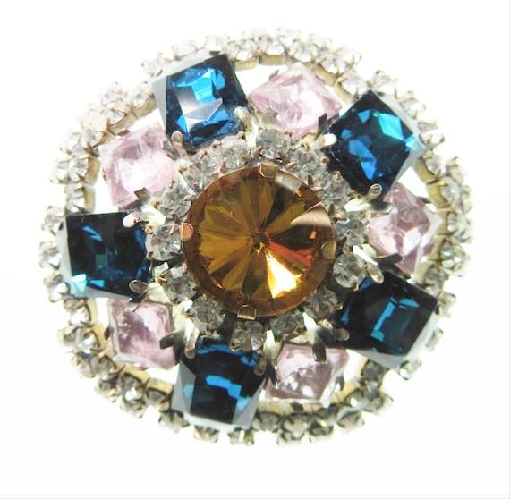 Vintage broach pin for women, Fancy pink, blue and Purple round rhinestone Austrian glass brooch,  Sparkly Czech glass brooch jewelry
