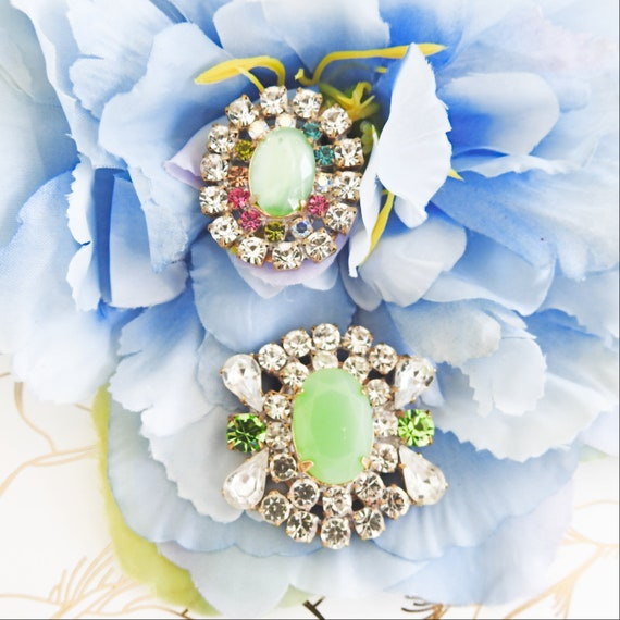 Green rhinestone buttons for jewellery making