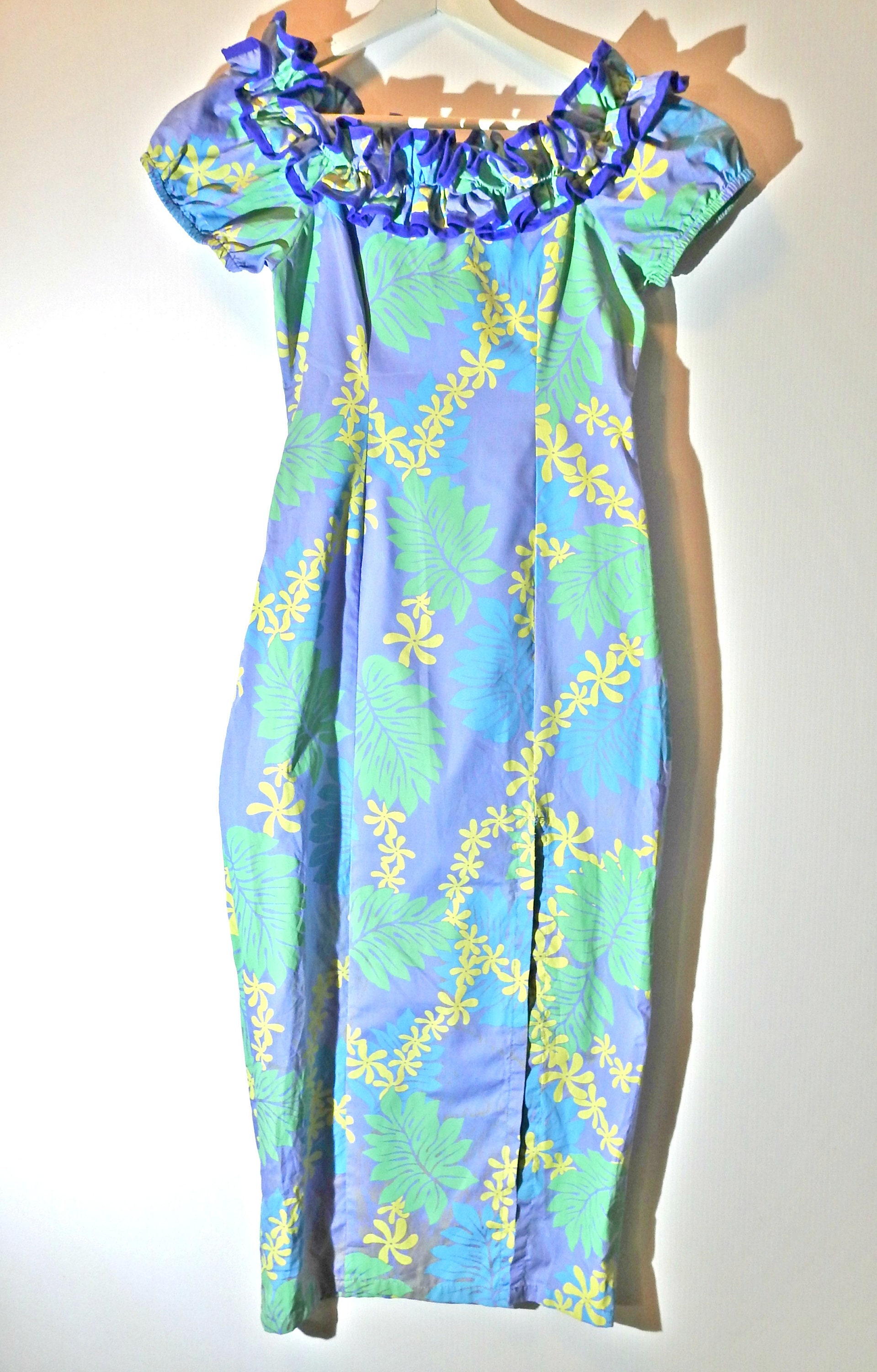 Off shoulder dress hawaiian print dress tiki party aloha tropical ...