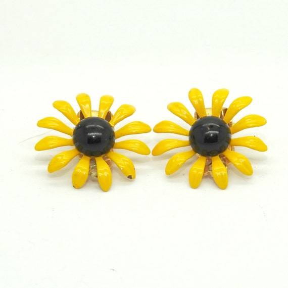 Yellow clip on earrings vintage
