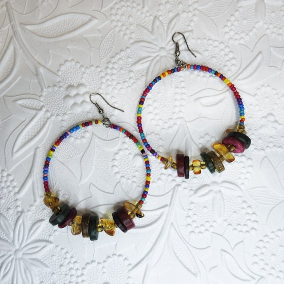 Boho-chic style large hoop earrings beaded