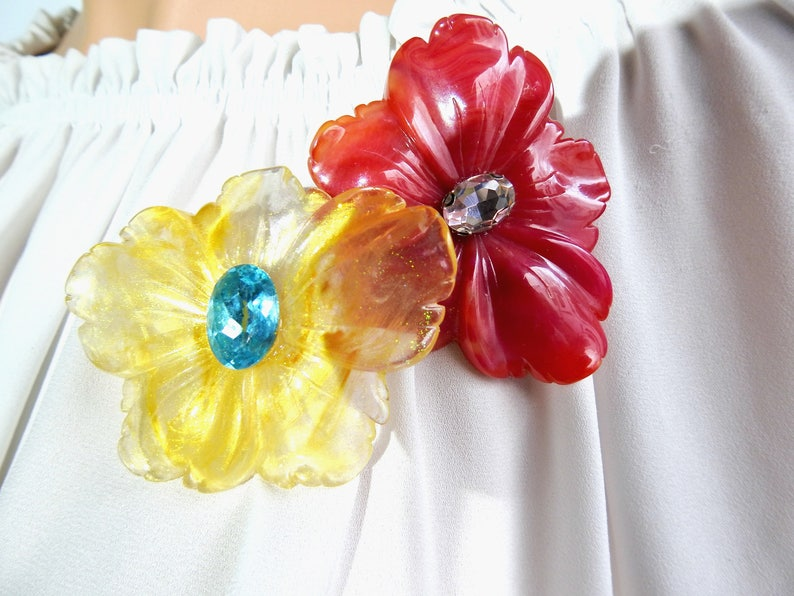 be9c90e427d FLORAL BROOCH PIN statement brooch yellow flower brooch pin   Etsy