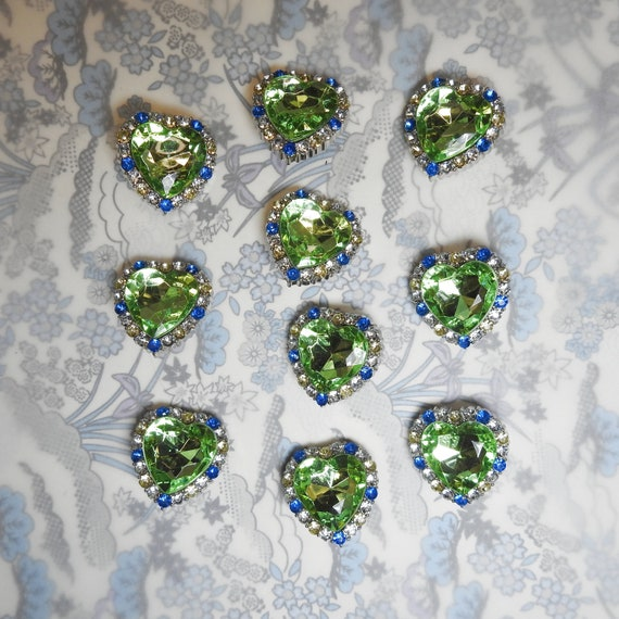 Heart rhinestone buttons with shank back