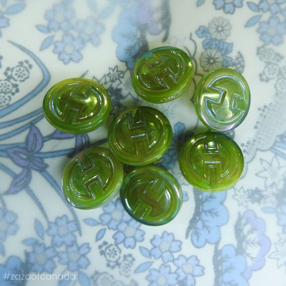 Vintage art deco green buttons