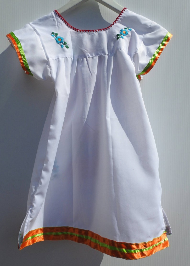 6e66773409759 Little girl mexican dresses white mexican dress Etsy baby gift mexican  dress floral girls dress up toddler infant festival size 4