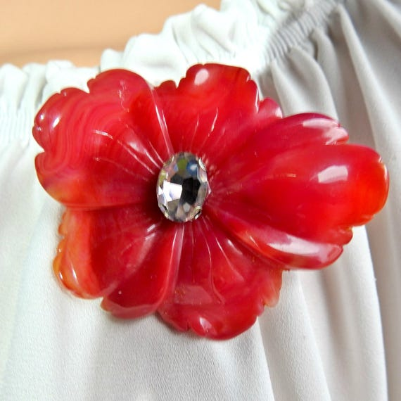 Red evening brooch for women