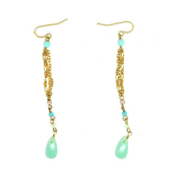 Mint green long chain earrings